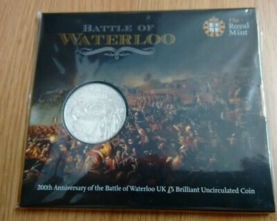 2014 Royal Mint £5 Coin Battle Of WATERLOO UNCIRCULATED Pack
