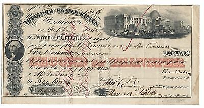 1858 US Treasury $5000 transfer note to Assistant.US Treasurer in California