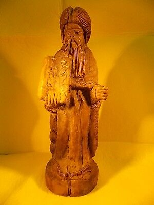1950-Judaica-Moses Holding 10 Commandments Tablets-Olive Wood-Vintage
