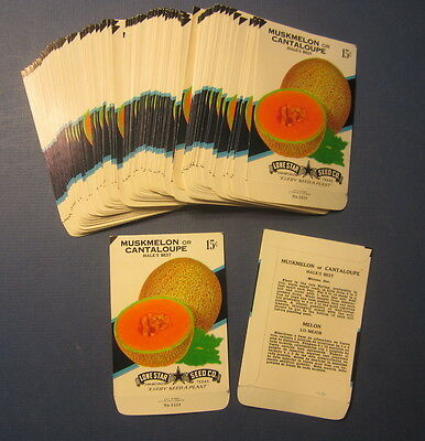 Wholesale Lot of 100 Old Vintage - CANTALOUPE / Muskmelon - SEED PACKETS - EMPTY