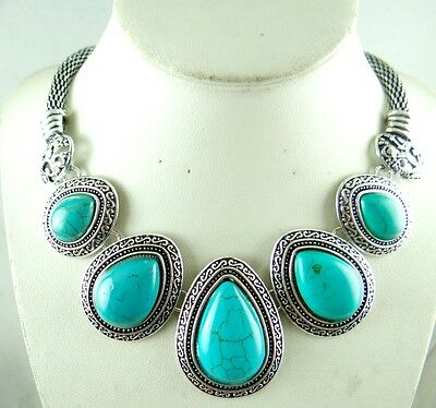 Women Tibetan Silver Turquoise Pendant Necklace Fashion Jewelry AG-2