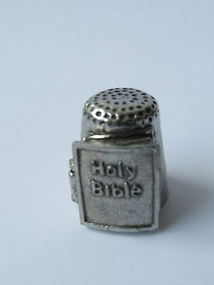 Warwick Models England Pewter Thimble, Bible With Lords Prayer.