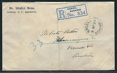 1929 Bahamas Registered KGV Cover - Nassau to Vienna, Austria