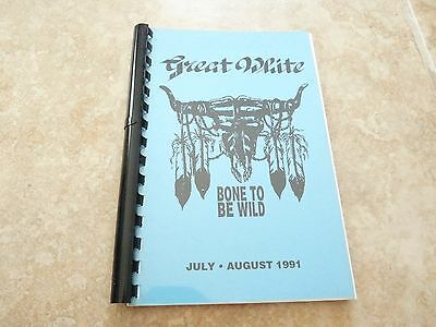 Great White Bone To Be Wild July Aug 1991 RARE Band Concert Tour Itinerary Book