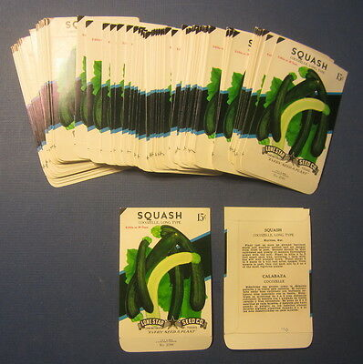 Wholesale Lot of 100 Old Vintage SQUASH Cocozelle Vegetable SEED PACKETS - EMPTY
