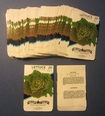 Wholesale Lot of 100 Old Vintage LETTUCE Mignonette Vegetable SEED PACKETS EMPTY