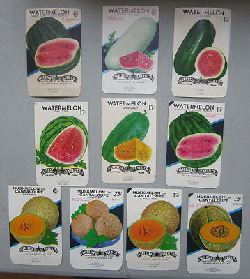 Lot of 10 Old Vintage - WATERMELON & CANTALOUPE - Melon SEED PACKETS - EMPTY