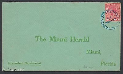 BAHAMAS 1920s SS ROSSLIND POSTED ON HIGH SEAS SHIP COVER TO MIAMI FLORIDA USA