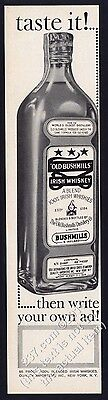 1960 Old Bushmills Irish Whiskey bottle photo Write Your Own Ad vintage print ad