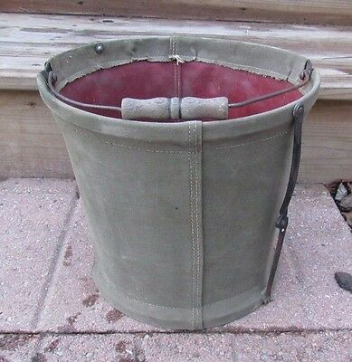 Antique New York Central System Railroad Collapsible Canvas Water Bucket Nycs