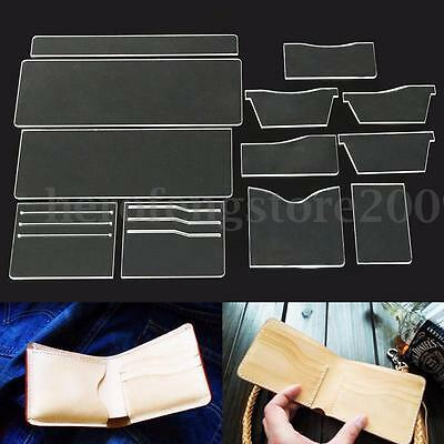 12Pcs Clear Acrylic Short Wallet Pattern Stencil Template Set Leather Craft Tool