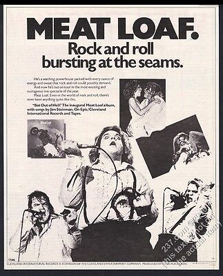 1978 Meat Loaf 5 photo Bat Out of Hell album release vintage print ad
