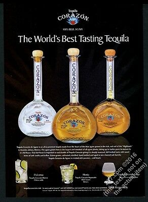 2004 Corazon Tequila Reposado Blanco etc 3 bottle photo vintage print ad