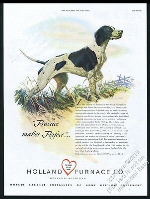 1947 Pointed dog Lloyd R Jones GREAT color art Holland Furnace vintage print ad