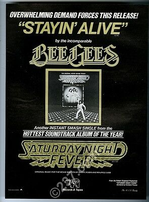 1977 The Bee Gees Stayin Alive Saturday Night Fever song release music trade ad