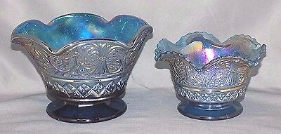 Set of 2 Beautiful Iridescent Blue Carnival Glass Bowls, Crimped/Fluted Edges