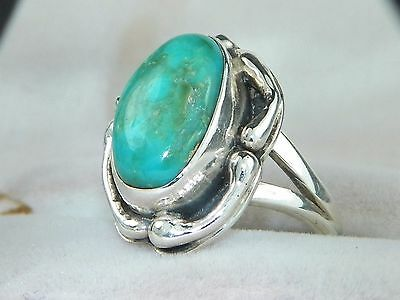 Sterling Silver .925 Southwestern Blue Turquoise Solitaire Ring-Size 6