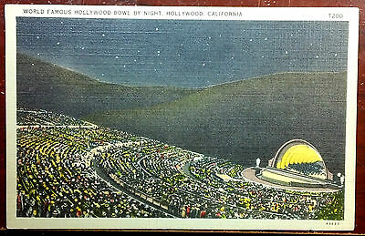 1944 Postcard World Famous Hollywood Bowl By Night California