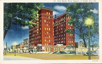 Vintage 1940 Postcard Ford Hotel Perry Square at Night Erie Pa
