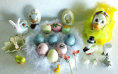 Lot of 23 Easter Items, Eggs, Figurines, Bone China Bunny, Feather Duck & More