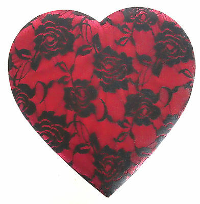 Valentine Heart Box with Black Floral Lace over Satin Lid