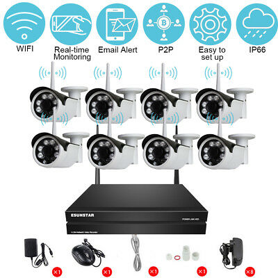 8CH Wireless NVR Kit Seagate 1TB HDD HD 720P 1MP WiFi IP Camera Security System