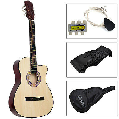 38'' 6-Strings Beginners Acoustic Guitar With Guitar Case, Strap, Tuner and Pick
