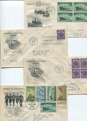 """Lot of 4 1946 """"Honoring The Armed Forces/Honorable Discharge First Day Covers"""