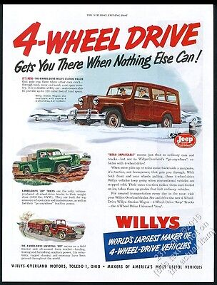 1950 Willys Jeep Universal CJ pickup truck station wagon color art vintage ad