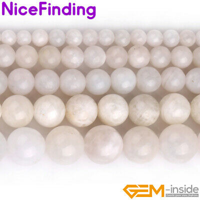 """Natural Round White Moonstone Gemstone Loose Beads For Jewelry Making Strand 15"""""""