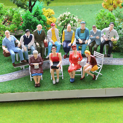 P2509 12pcs G scale Figures 1:22.5-1:25 All Seated  Painted People Model Railway