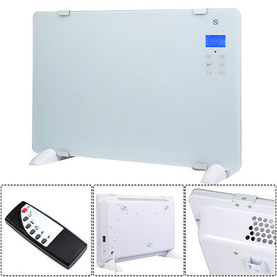 WHITE GLASS PANEL ELECTRIC HEATER 1.5KW WALL MOUNTED 24hr TIMER FREE STANDING