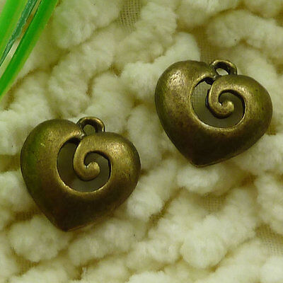 Free Ship 70 pieces Antique bronze heart charms 15x15mm #2554