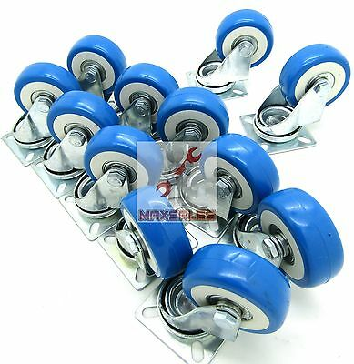 "(20pc) 2"" Swivel Caster Polyurethane Wheels Base Top Plate Double Ball Bearing"