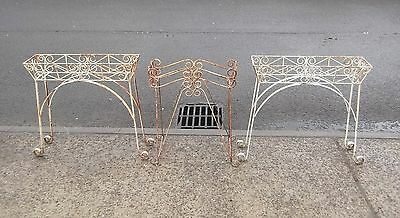 3 Vintage Rusty Iron Plant Pot Stands     Delivery Available
