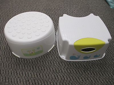 2 x Toddler Step Up Stools Bathroom - Mothercare & Kiddicare - White