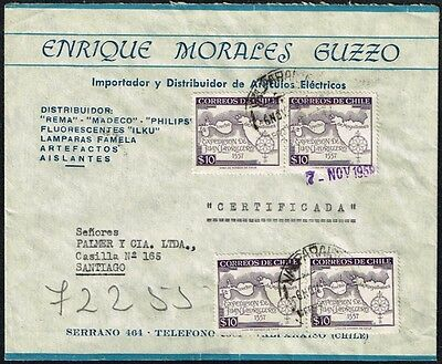 2677 Chile Registered Cover 1957 Maps Valparaiso - Santiago