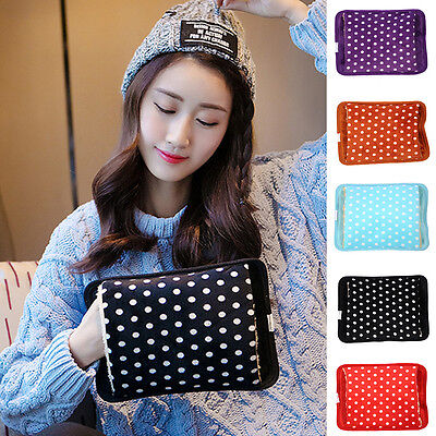 Hot Warmer Reusable Electric Heat Hand Water Bottle Polka Dots Velvet Warm Bag