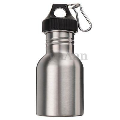 350ML Stainless Steel Wide Mouth Water Bottle Sports Cycling Travel + Carabiner