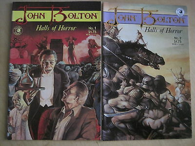 JOHN BOLTON, HALLS of HORROR :COMPLETE 2 ISSUE SERIES. SKINN,MOORE. ECLIPSE.1985