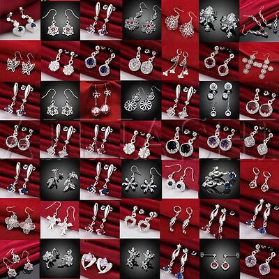 WHOLESALE FASHION JEWELRY SOLID Silver WOMENS 925STERLING SILVER EARRINGS + BOX