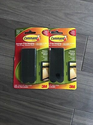 2 X 3M Command Large Black Adheisive Strips Damage Free. Picture Hanging 8 Sets