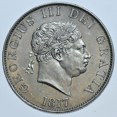 1817 Halfcrown, Small Head, British Silver Coin From George Iii Au