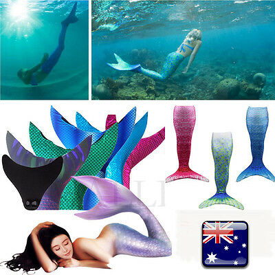 New Kids Girls Adult Women Mermaid Tail Monofin Swimmable Wear Cosplay Costume