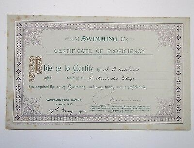 Old 'Swimming Certificate of Proficiency' for J.P.Kitchener 1902