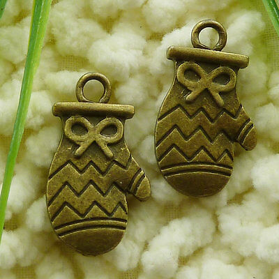 Free Ship 25 pieces Antique bronze mittens charms 26x14mm #1294