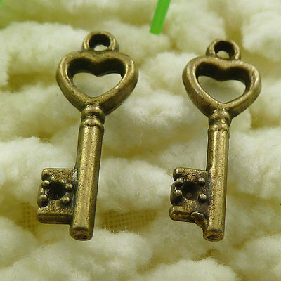 Free Ship 140 pieces Antique bronze key charms 20x17mm #1868
