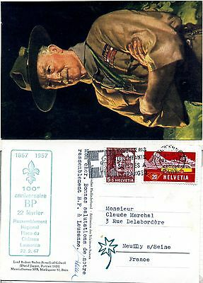 Switzerland 1957 Scout Jubilee postcard with relevant cachet