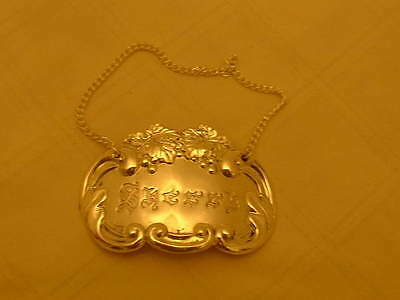 """Highly Decorative Vintage Silver Plated Decanter Label""""sherry"""""""