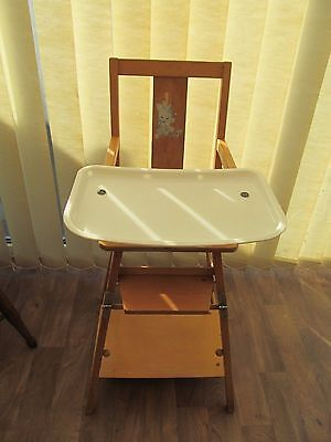 Vintage Atcraft  Wooden Folding  High Chair with Feeding Tray / Play Table
